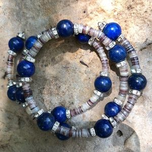 💞Lapis Lazuli Beads; Multi Cream/Brown Pukkas💕